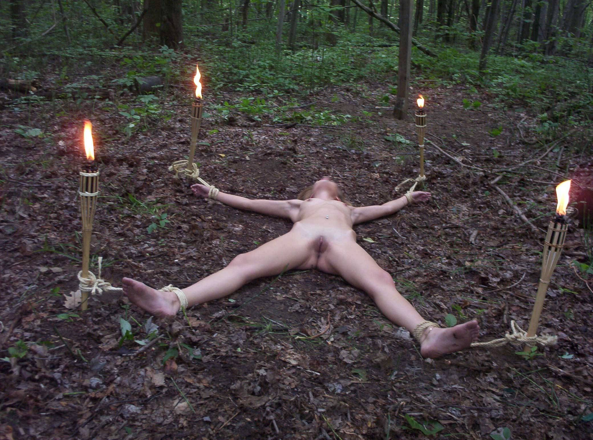 nude bondage in forest