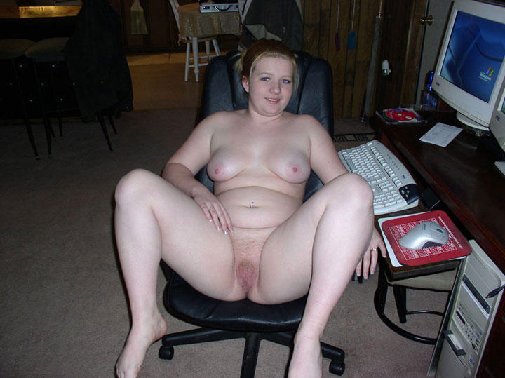 Wife naked at computer