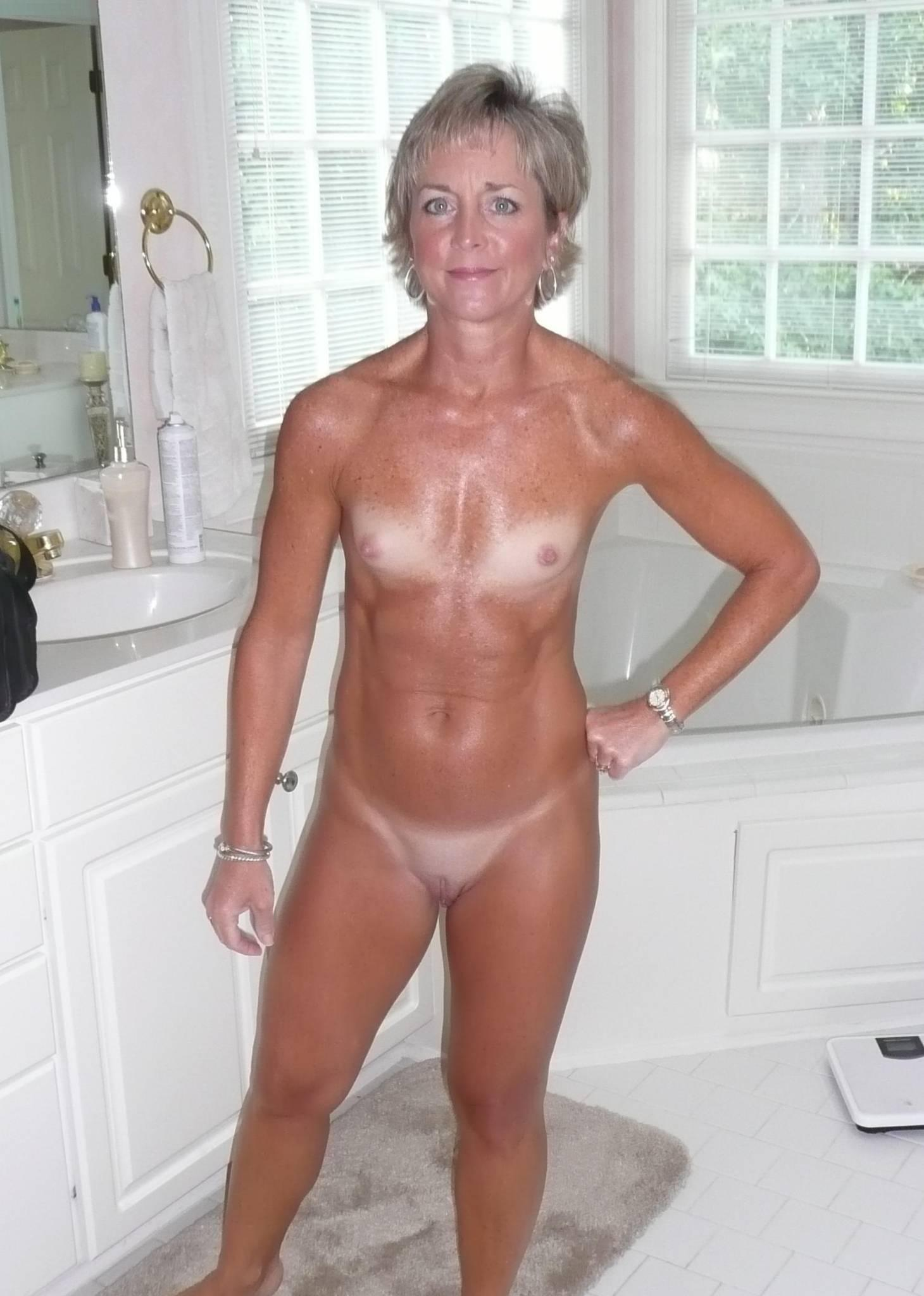 Mature flat nude chested women