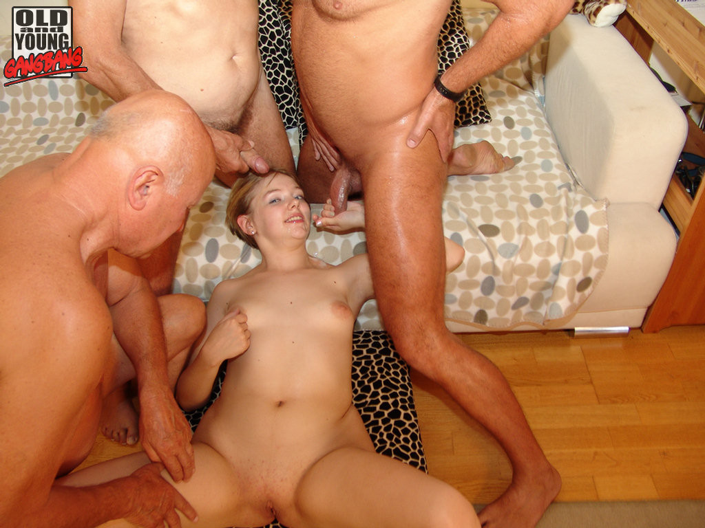 Naked woman and men together