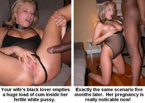 White wife impregnated black captions