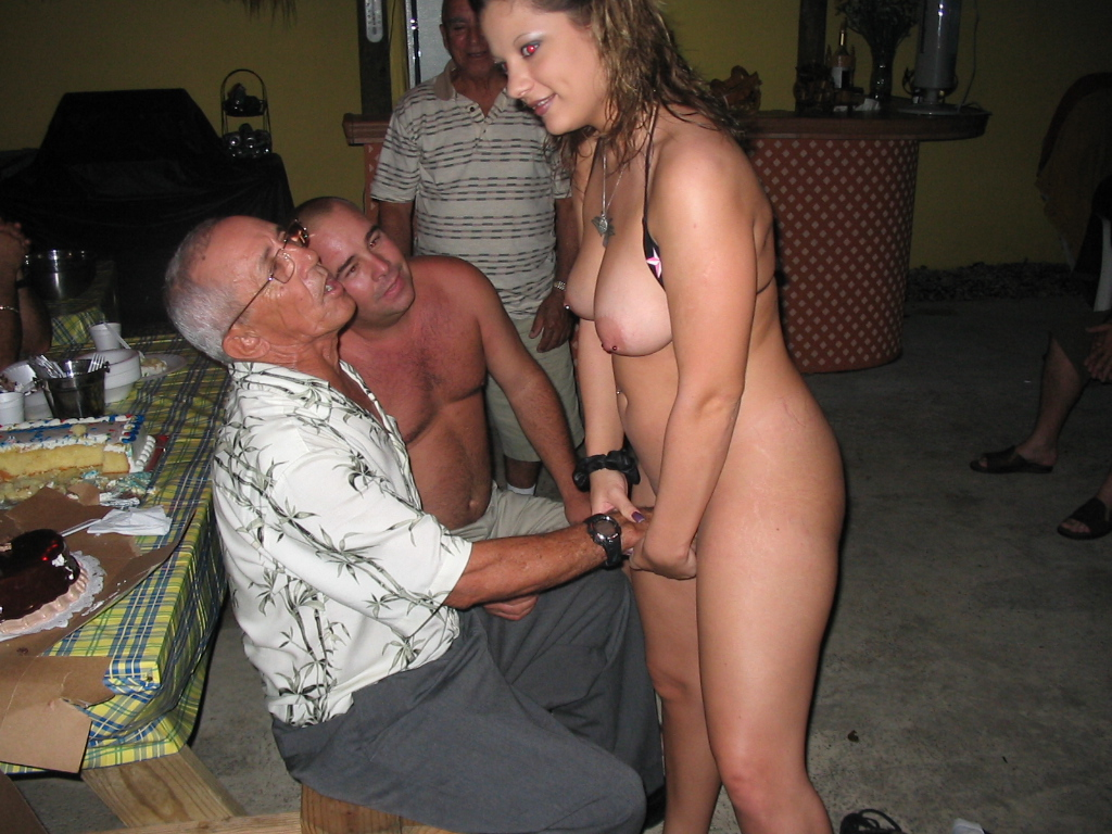 My wife naked at party loves two