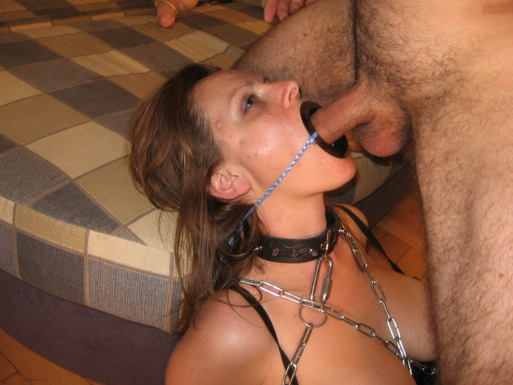 Open mouth gag throat fuck