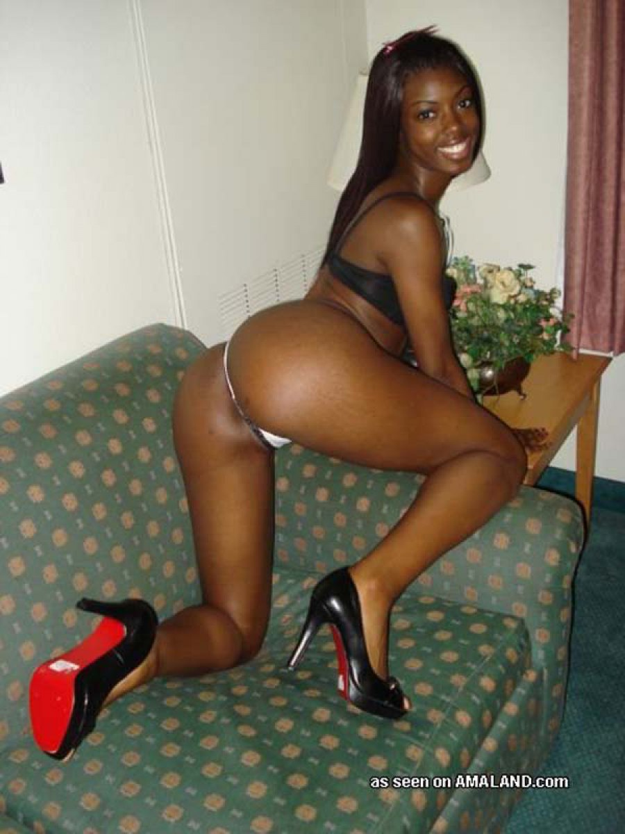 My ebony and black girlfriend in heels  adult curly stripers