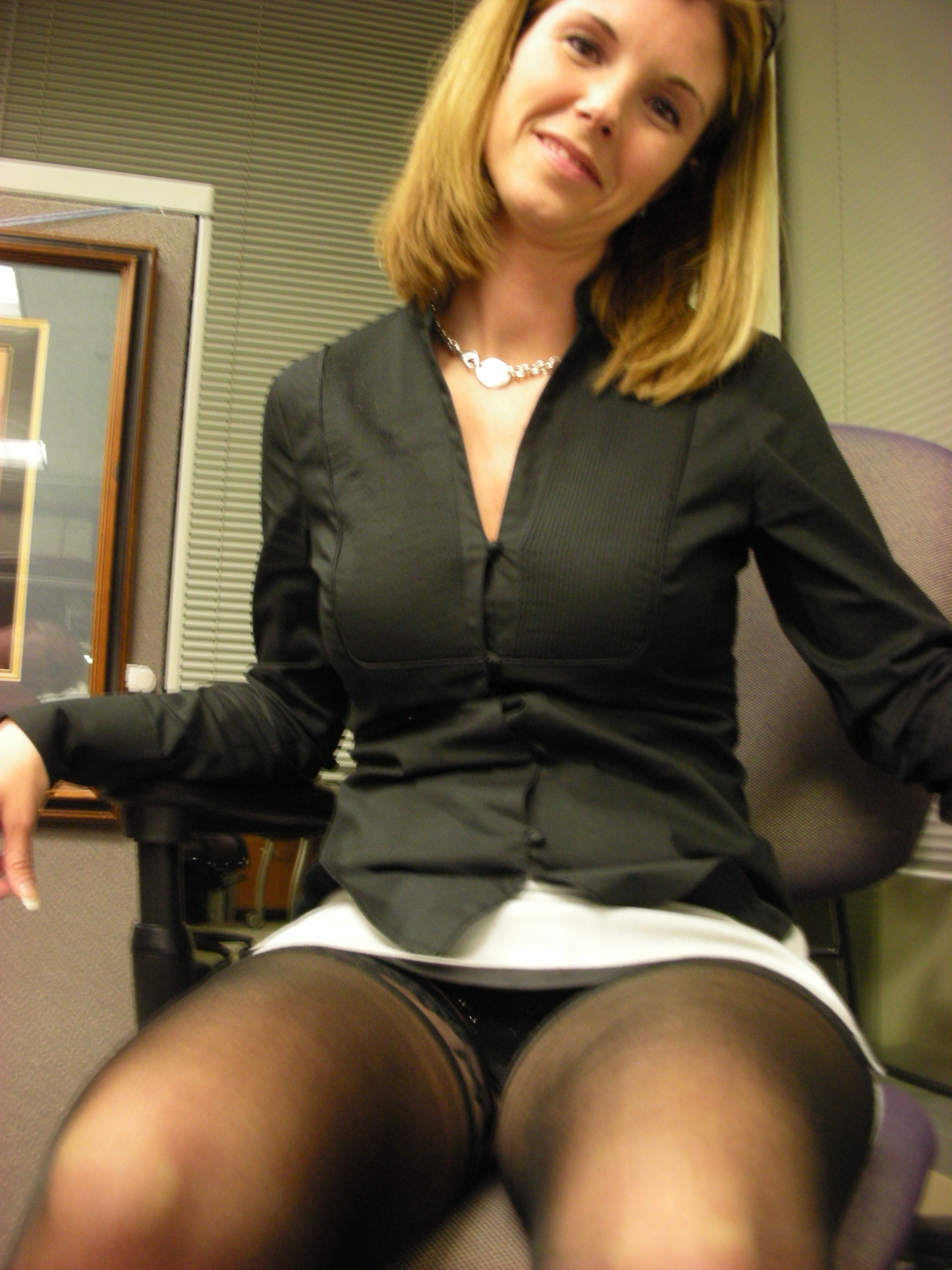 Mature office upskirt