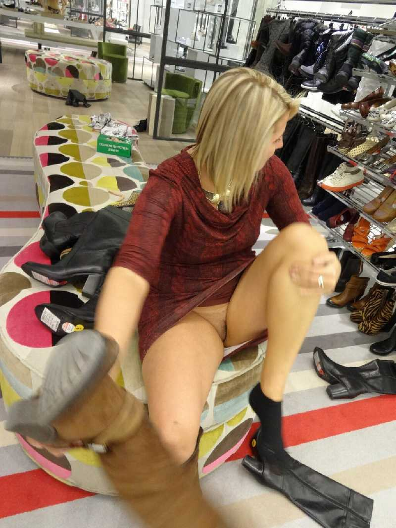 Pussy in shoe store