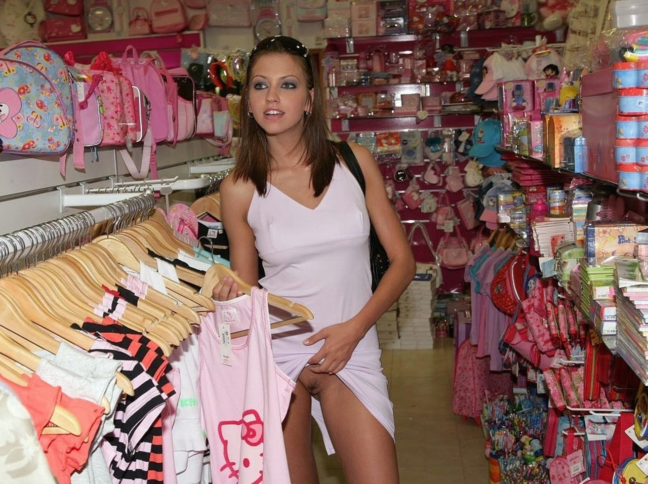 Nude public in stores women shopping
