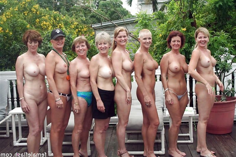 The Group of naked mature women