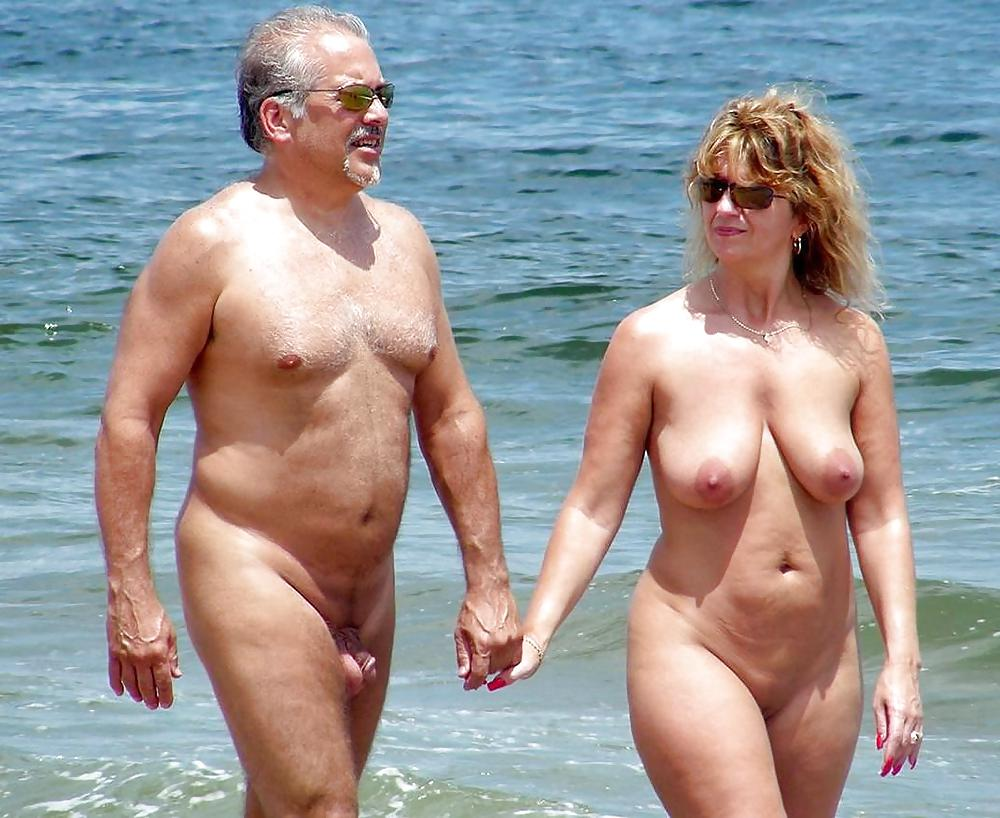 Couple boner nude beach