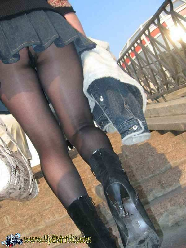 Cleared Black pantyhose upskirt not meant