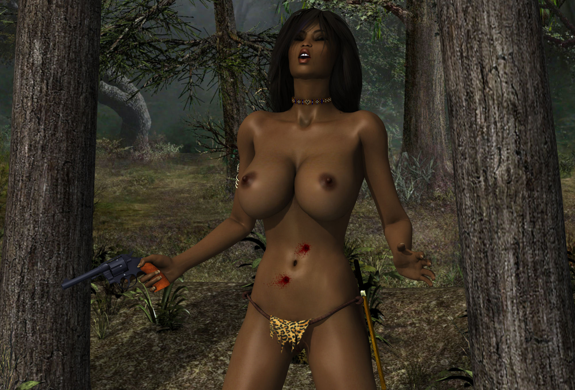 Female naked women in the jungle porn clip