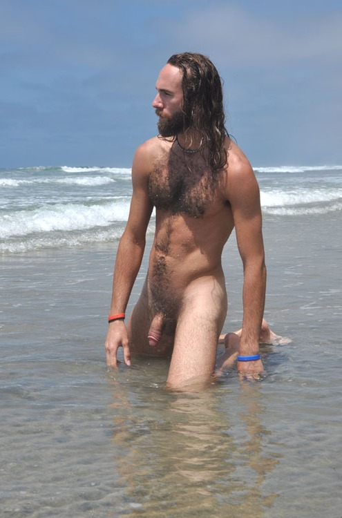 nude beach hairy man Naked