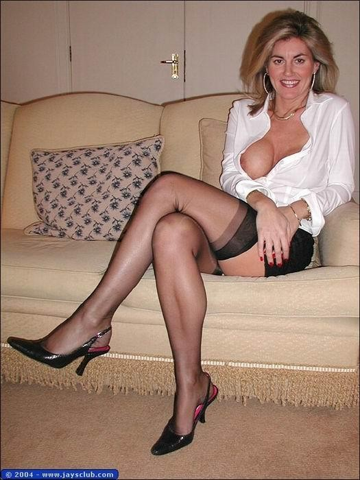 mature moms in black (sheer nylon) stockings - motherless