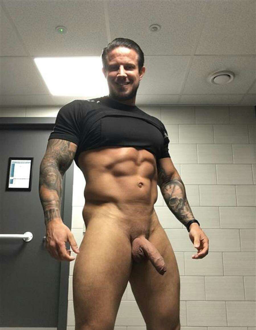 This sexy muscular stud is jerking his big cock