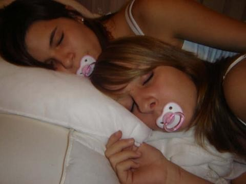 With pacifier teen