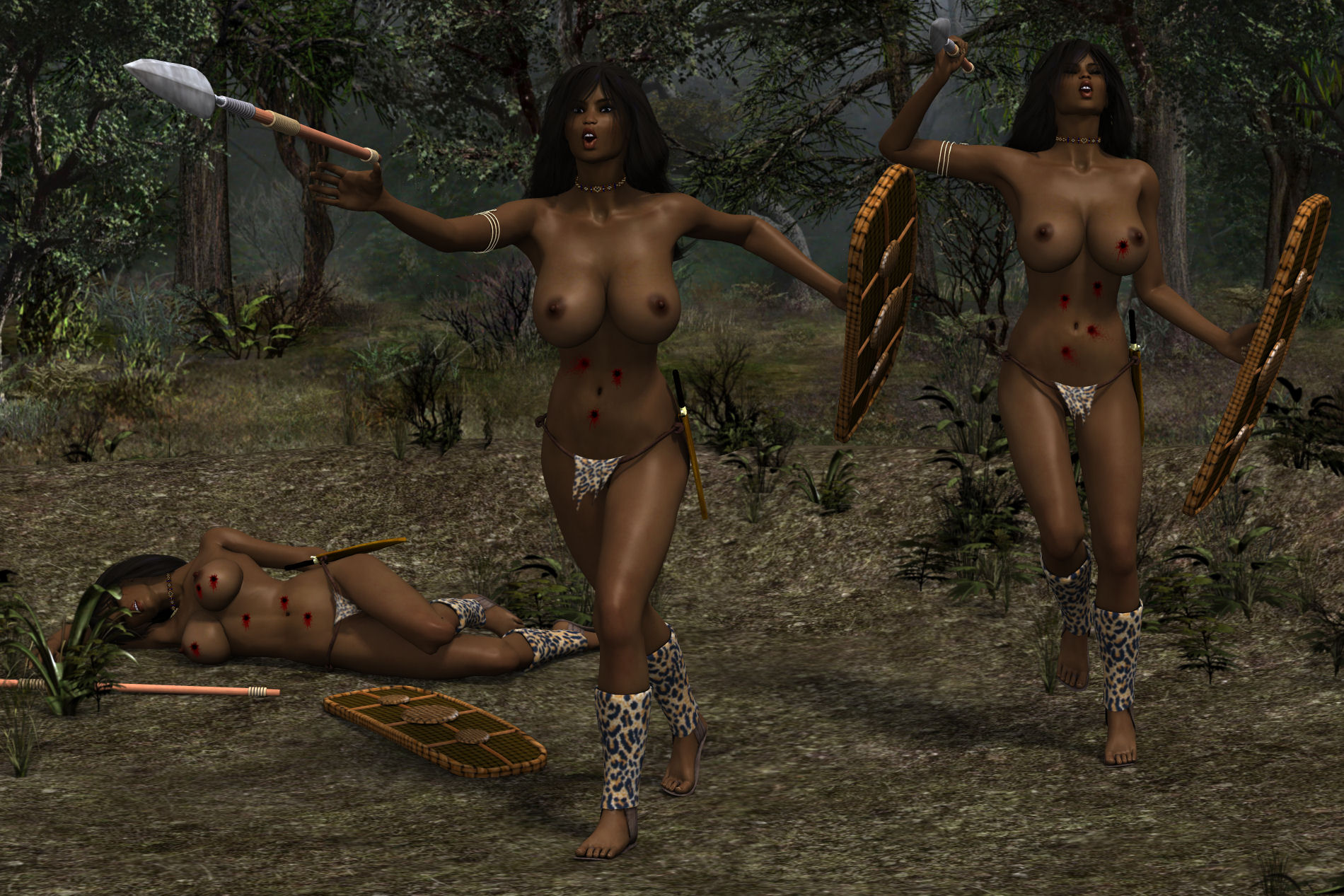 Naked action girl adrianna zarcova as a warrior goddess