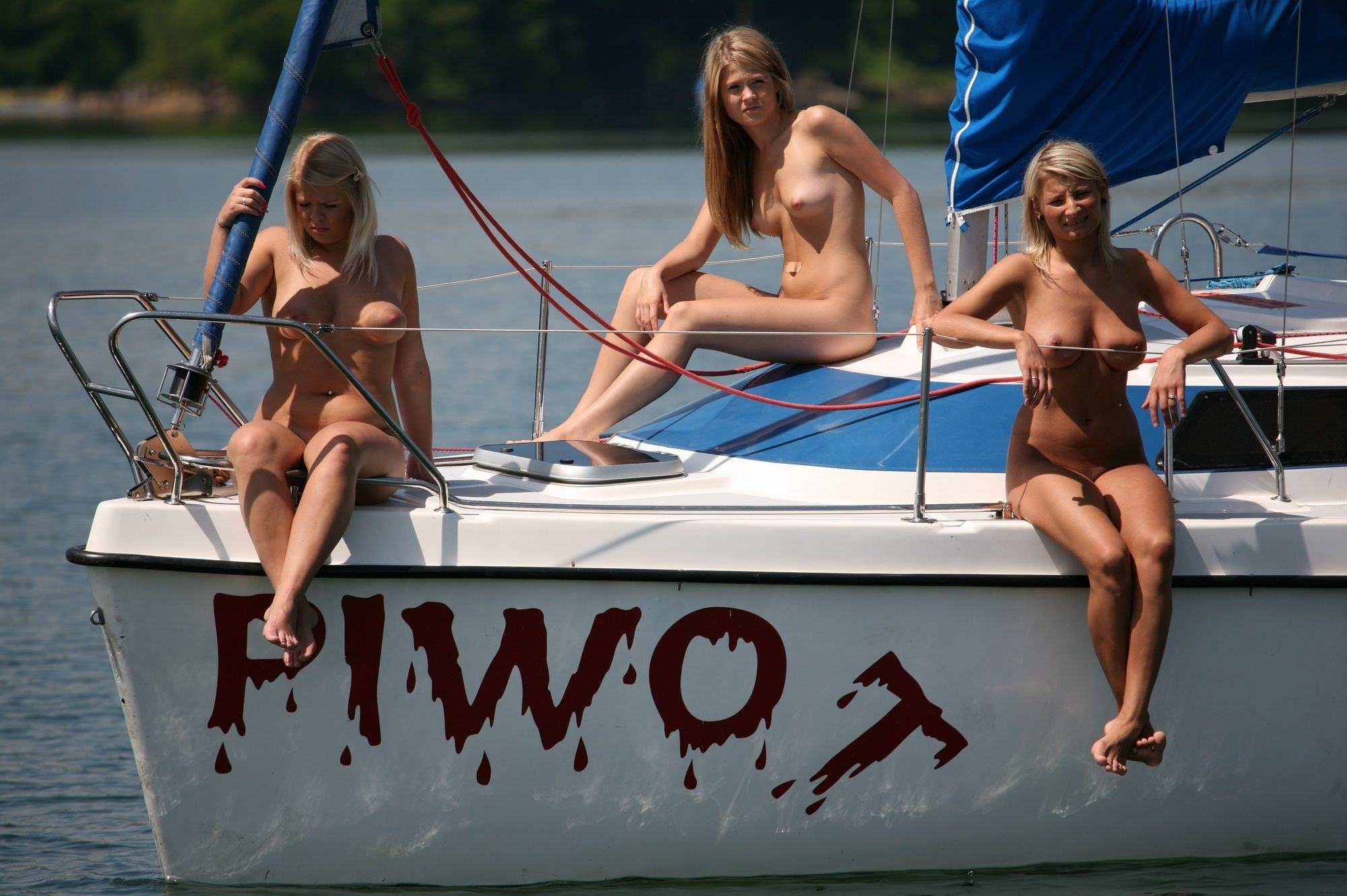 Naked college teen on boat, nice tits hot as hell