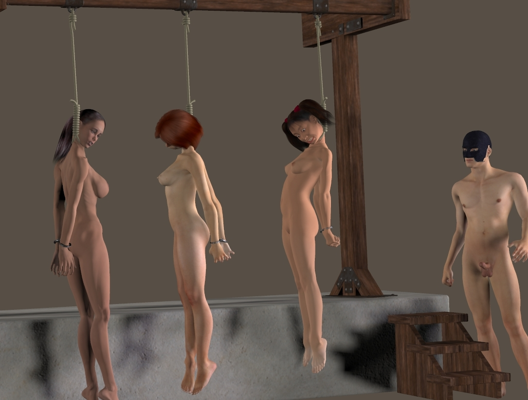 Beautiful woman is whipped naked before the guillotine execution