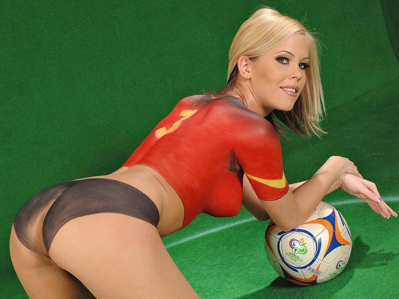 World cup body paint soccer girls pussy
