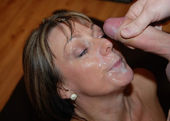 Cum on mature face