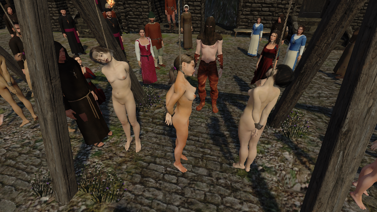 A naked prisoner is led to an execution site, possibly